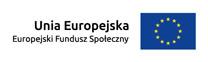 flaga Unia Europejska, Europejski Fundusz Społeczny, niebieski prostokąt na środku12 żółtych gwiazd ułożonych w okrąg